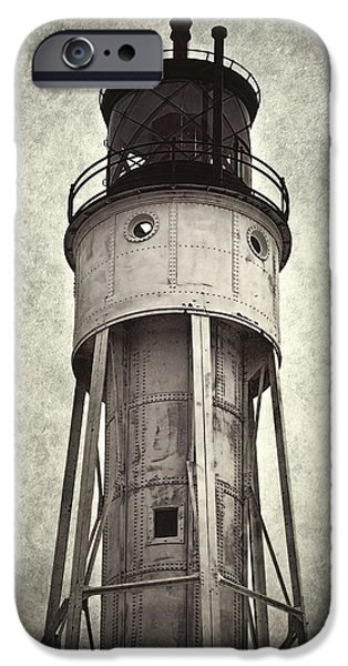 Tall Ship iPhone Cases - Sturgeon Bay Ship Canal Lighthouse II iPhone Case by Joan Carroll