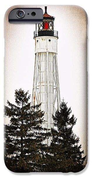 Lighthouse iPhone Cases - Sturgeon Bay Ship Canal Lighthouse III iPhone Case by Joan Carroll
