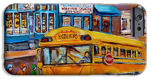 Montreal Bagels iPhone Cases - St.viateur Bagel And School Bus Montreal Urban City Scene iPhone Case by Carole Spandau