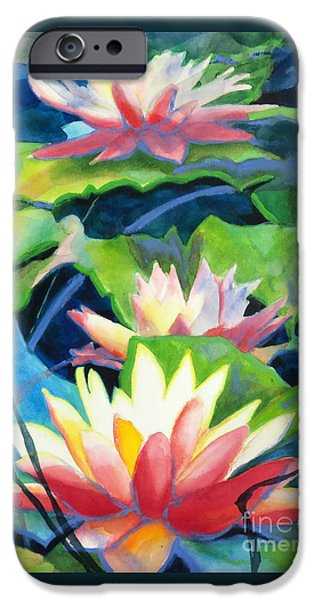 Interior Still Life iPhone Cases - Styalized Lily Pads 3 iPhone Case by Kathy Braud