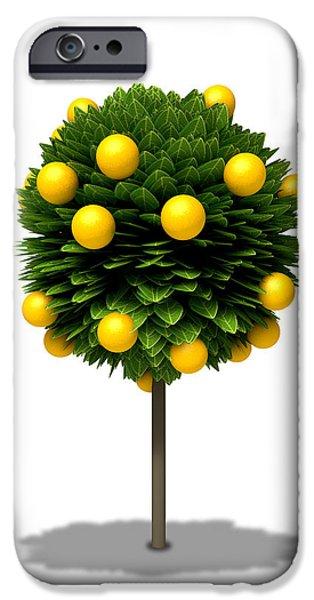 Orange Digital iPhone Cases - Stylized Orange Tree iPhone Case by Allan Swart