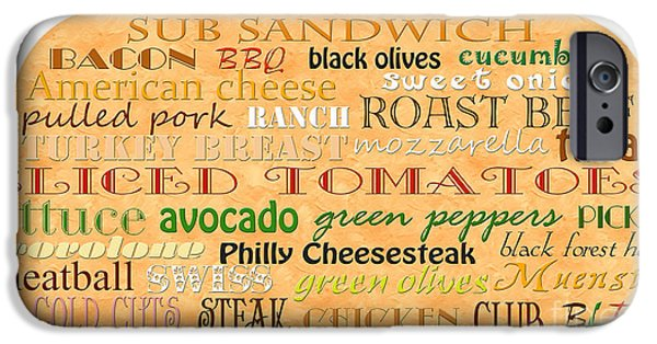 Swiss Mixed Media iPhone Cases - Sub Sandwich Typography iPhone Case by Andee Design