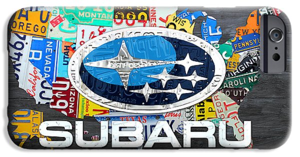 Celebration Mixed Media iPhone Cases - Subaru License Plate Map Sales Celebration Limited Edition 2013 Art iPhone Case by Design Turnpike