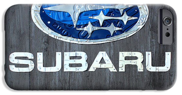 Celebrate Mixed Media iPhone Cases - Subaru Logo Art Celebrating 2012 USA Sales Totals iPhone Case by Design Turnpike