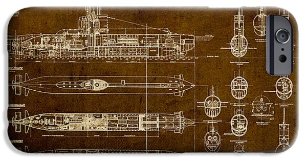 Brown Mixed Media iPhone Cases - Submarine Blueprint Vintage on Distressed Worn Parchment iPhone Case by Design Turnpike