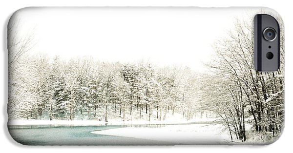 Snow iPhone Cases - Subtle Winter Scene iPhone Case by Mim White