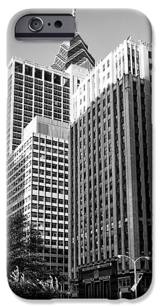 Suburban Digital Art iPhone Cases - Suburban Station Building - Philadelphia in Black and White iPhone Case by Bill Cannon