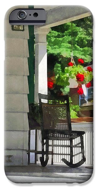 Suburbs - Porch With Rocking Chair and Geraniums iPhone Case by Susan Savad