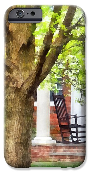Suburbs - Rocking Chair on Porch iPhone Case by Susan Savad