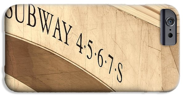 Sign iPhone Cases - Subway 4 5 6 7 S iPhone Case by Susan Candelario
