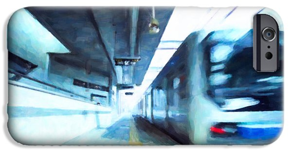 Stainless Steel Paintings iPhone Cases - Subway station 2 iPhone Case by Lanjee Chee