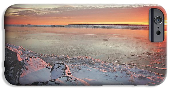 Snow iPhone Cases - Subzero Sunrise iPhone Case by Carrie Ann Grippo-Pike