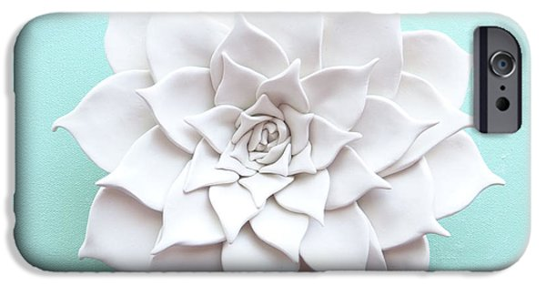 Decor Ceramics iPhone Cases - Succulent Plant Wall Sculpture - Spring iPhone Case by Lenka Kasprisin