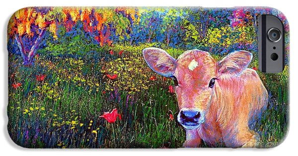 Green iPhone Cases - Such a Contented Cow iPhone Case by Jane Small