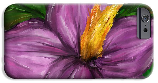 Purple Art iPhone Cases - Such Beauty- Magnolia Paintings iPhone Case by Lourry Legarde