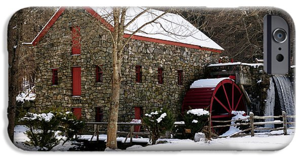Sudbury River iPhone Cases - Sudbury Grist Mill in Winter iPhone Case by Mark Valentine