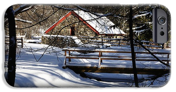 Sudbury River iPhone Cases - Sudbury - Grist Mill in the Woods iPhone Case by Mark Valentine