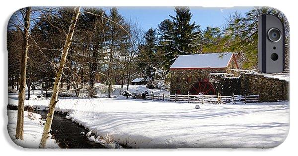 Sudbury River iPhone Cases - Sudbury - Grist Mill Winter Creek iPhone Case by Mark Valentine