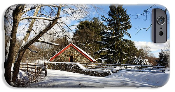Grist Mill iPhone Cases - Sudbury - Grist Mill Winter iPhone Case by Mark Valentine