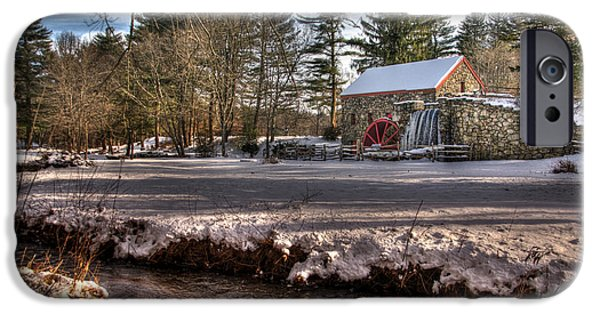 Sudbury River iPhone Cases - Sudbury Winter Grist Mill and River iPhone Case by Mark Valentine
