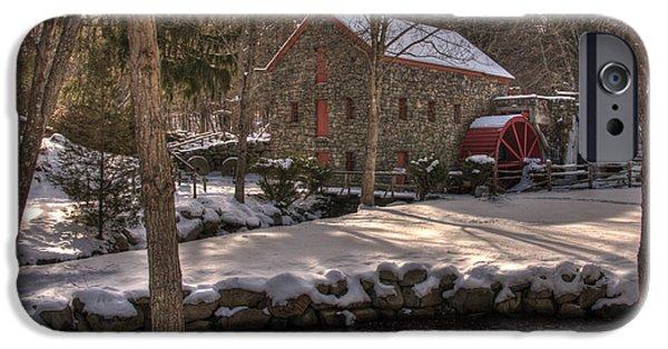 Sudbury River iPhone Cases - Sudbury Winter Grist Mill iPhone Case by Mark Valentine