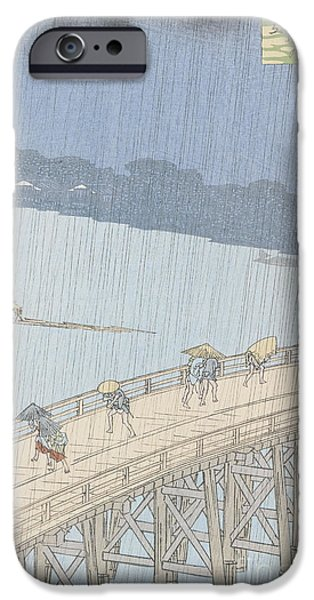 Sudden Shower on Ohashi Bridge at Ataka iPhone Case by Ando Hiroshige