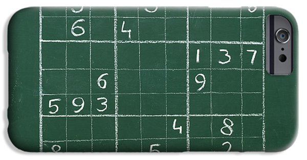 Mathematic iPhone Cases - Sudoku on a Chalkboard iPhone Case by Chevy Fleet