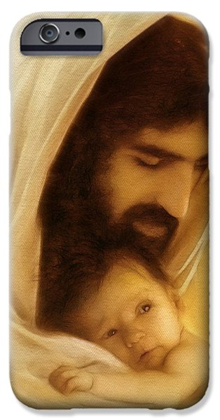 Jesus Face iPhone Cases - Suffer the Little Children iPhone Case by Ray Downing