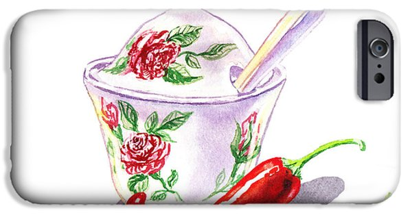 Electronic Paintings iPhone Cases - Sugar Bowl And Chili Peppers iPhone Case by Irina Sztukowski