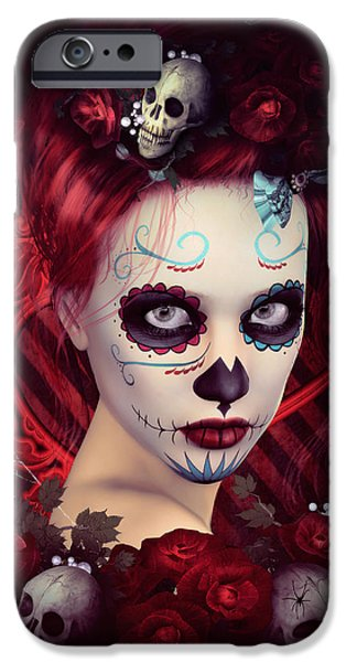 Halloween Digital iPhone Cases - Sugar Doll Red iPhone Case by Shanina Conway