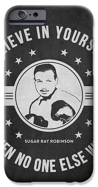 Boxer Digital iPhone Cases - Sugar Ray Robinson - Dark iPhone Case by Aged Pixel