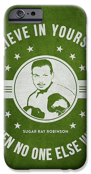 Heavyweight Digital Art iPhone Cases - Sugar Ray Robinson - Green iPhone Case by Aged Pixel