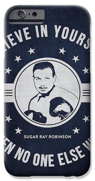 Heavyweight Digital Art iPhone Cases - Sugar Ray Robinson - Navy Blue iPhone Case by Aged Pixel