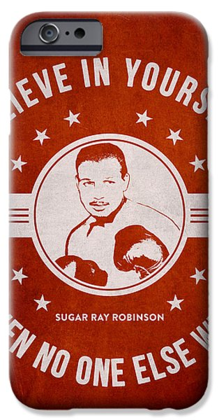 Heavyweight Digital Art iPhone Cases - Sugar Ray Robinson - Red iPhone Case by Aged Pixel