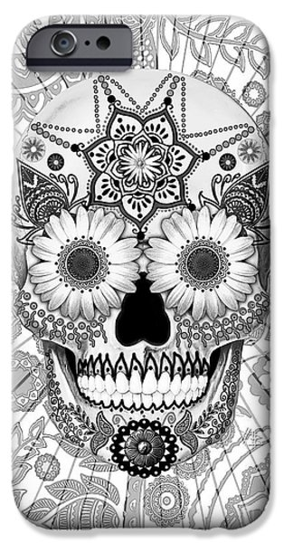 Ancient iPhone Cases - Sugar Skull Bleached Bones - Copyrighted iPhone Case by Christopher Beikmann