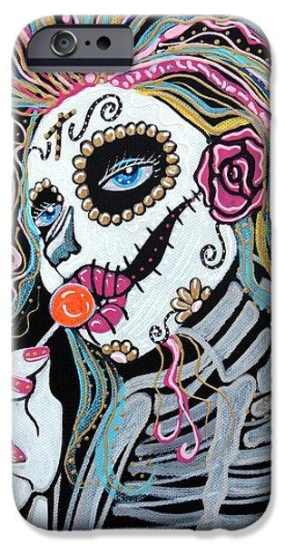 Mardi Gras Paintings iPhone Cases - Sugar Skull Lollipop iPhone Case by Laura Barbosa