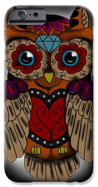 Tattoo Flash iPhone Cases - Sugar Skull owl iPhone Case by Niklas  Bates