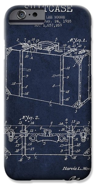 Old Digital Art iPhone Cases - Suitcase patent from 1928 - Navy Blue iPhone Case by Aged Pixel
