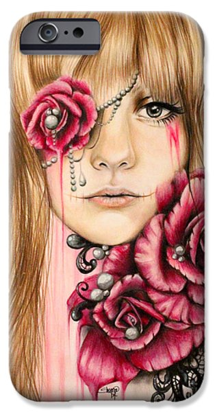 Mixed Media Pastels iPhone Cases - Sullenly Sweet  iPhone Case by Sheena Pike