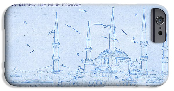 Historic Site Mixed Media iPhone Cases - Sultan Ahmed The Blue Mosque - BluePrint Drawing iPhone Case by MotionAge Designs