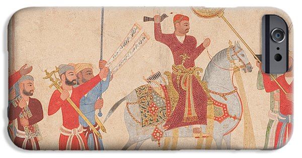 The Horse iPhone Cases - Sultan Hussain Nizam Shah I of Ahmadnagar on horseback iPhone Case by Indian School