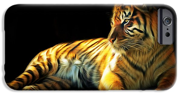 The Tiger Digital Art iPhone Cases - Sumatran Tiger 20150210brun iPhone Case by Wingsdomain Art and Photography