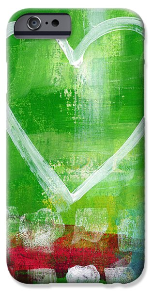 Wall Mixed Media iPhone Cases - Sumer Love- Abstract heart painting iPhone Case by Linda Woods