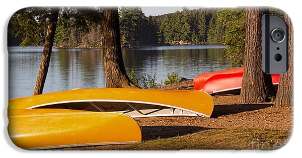 Canoe iPhone Cases - Summer Adventure in The North Country iPhone Case by Barbara McMahon