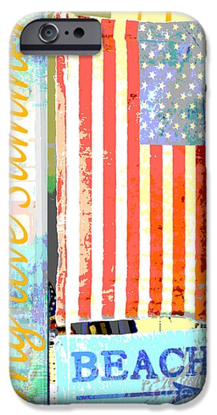 Red White And Blue Mixed Media iPhone Cases - Summer Beach Coastal Americana iPhone Case by ArtyZen Studios - ArtyZen Home