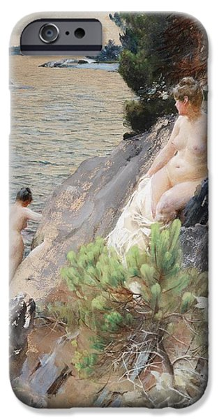 Bathing iPhone Cases - Summer iPhone Case by Anders Zorn