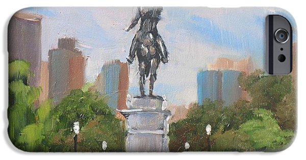 City. Boston Paintings iPhone Cases - Summer at the Gardens iPhone Case by Laura Lee Zanghetti