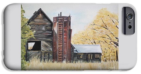 Old Barns iPhone Cases - Golden Aged Barn -Washington - Red Silo  iPhone Case by Jan Dappen