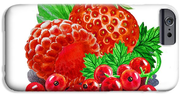 Electronic Paintings iPhone Cases - Summer Berries iPhone Case by Irina Sztukowski
