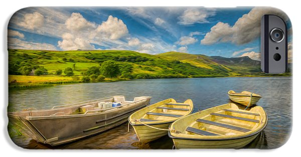 Coastline Digital Art iPhone Cases - Summer Boating iPhone Case by Adrian Evans